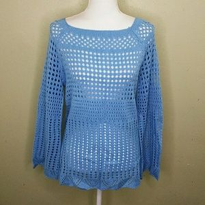 Hannah Blue Lacy Knit Tunic Sweater L NWT